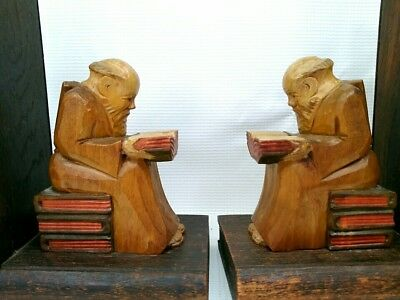 Pair Of Vintage Hand Carved Wooden Monk Bookends Wise Man Reading - Germany