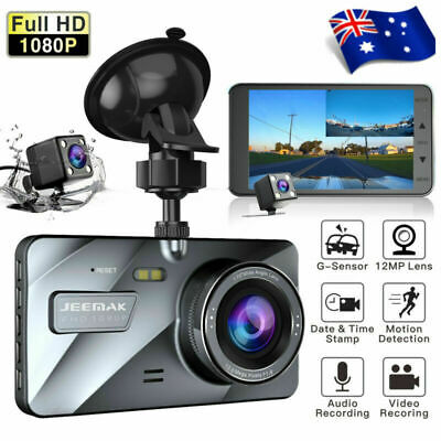 "4"" Car Dash Cam FHD 1080P Front and Rear Dashboard Camera Driving DVR Recorder"