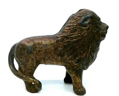 Circa 1906 Tail Right Lion Antique Cast Iron Penny Still Bank - A.c. Williams