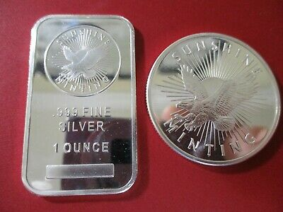 Lot of 2  1 oz .999 Fine Silver Sunshine Mint - Bar & Round