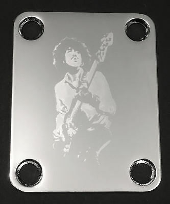 Engraved Photo Etched GUITAR NECK PLATE - Fit Fender Bass - PHIL LYNOTT Chrome