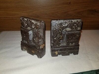 Antique Hand Carved Soap Stone Marble Stone Agate Urn High Bas Relief Bookends