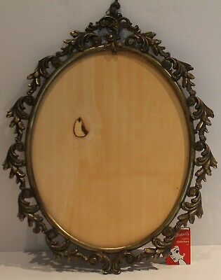 Vintage Ornate Brass Frame Large Oval Photo Picture Hanging Italy No Glass *