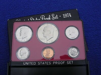 1974 US Mint Proof 6 Coin Set Uncirculated With Box Ike