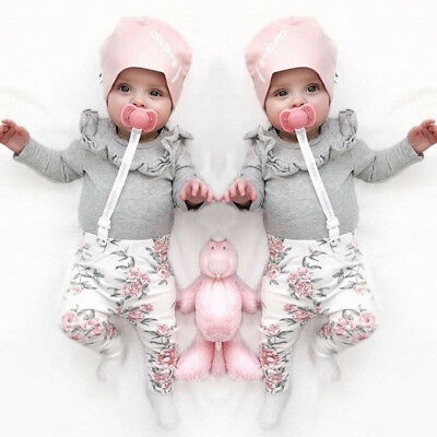 Newborn Infant Baby Girls T-shirt Tops+Floral Long Pants Outfits Clothes 0-24M