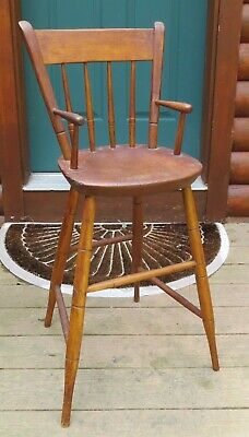 Antique wood youth chair or baby high chair with nice turnings arms & legs