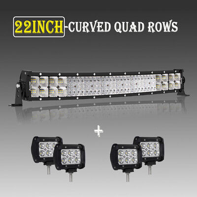 "4 Rows 22inch 3072W Curved LED Light Bar Spot Flood Offroad Lamp + 4X4""Pods 23"""