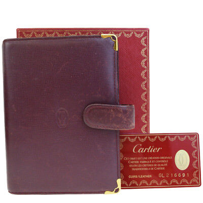Auth Must De CARTIER 2C Logos Agenda Day Planner Cover Leather Bordeaux 08EF117
