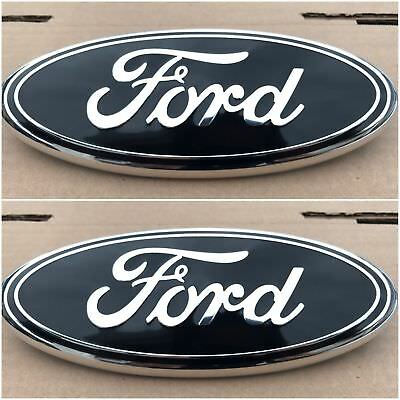 2004 - 2014 Ford F-150 Black Oval Front Grille & Rear Tail Gate 9 Inch Logo Set
