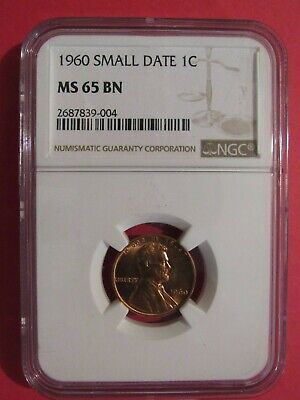 """1960 """"small Date"""" Lincoln Memorial Cent """"ngc Ms65Bn"""""""