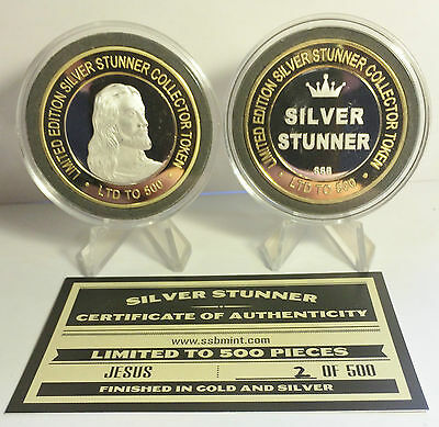 """""""JESUS"""" 43mm """"SILVER STUNNER"""" TOKEN/COIN, C.O.A. 500 Made $50 at Mint"""