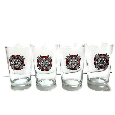 Veterans of Foreign Wars of the United States Four 8oz Drinking Glasses VFW USA