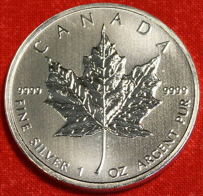 2011 CANADIAN MAPLE LEAF DESIGN 1 oz .9999% SILVER ROUND BULLION COLLECTOR COIN