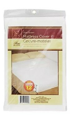 Size Queen Fitted Plastic Mattress  Protector-  Lightweight Waterproof Cover