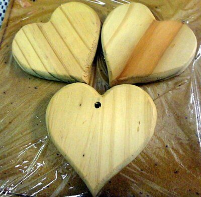 WOODEN SHAPE - 3 WOODEN HEART SHAPES 8cm WIDE