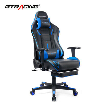 Blue Gaming Chair Video Computer Racing Recliner Office PU Leather Seat Footrest