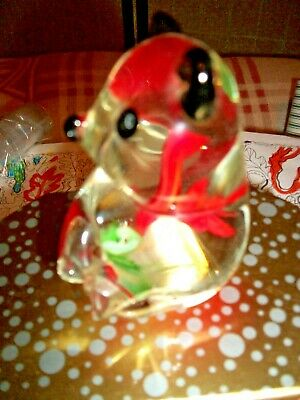 """Teddy Bear Paperweight Clear Crystal Art Glass With Red Rose In The Glass 4""""h"""