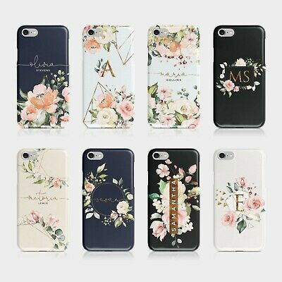 Personalised Initials iPhone Samsung Phone Case Floral Gold Monogram Shabby Chic