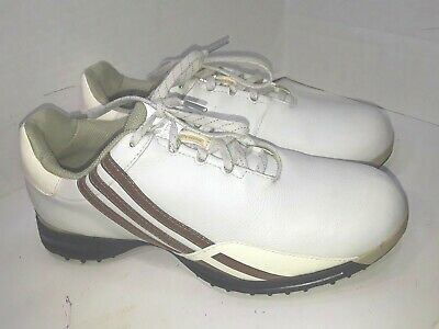 separation shoes 5a6ea c60af Adidas Driver Prima Golf Shoes 737164 White Strips Womens Size 7.5