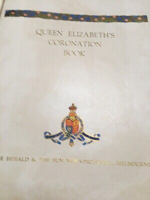 Queen Elizabeth 11 Coronation Book - hard red cover, in very good condition .