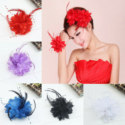 Feather Wrist flower hair clip fascinator feather hairpin party perform LDUK