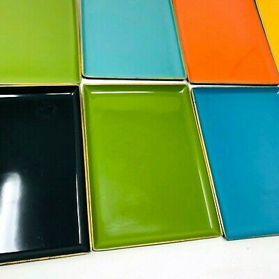 Mid Century Modern colored stacking trays cocktail party barware hard plastic