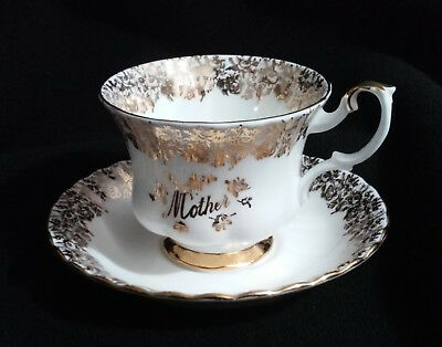 "Royal Albert Gold Gilded ""Mother"" Tea Cup and Saucer Set"