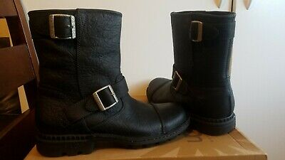74bd8300b4b UGG ROCKVILLE II Black Waterproof Leather Sheepskin Moto Boots Size 7.5