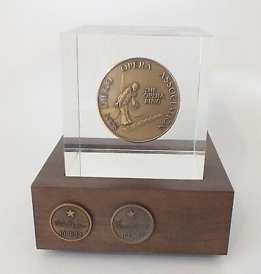 San Diego Opera Association/Opera Ring Bronze Medallion in Lucite Paperweight