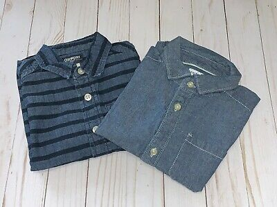 Lot Of 2 Oshkosh & Carters Toddler Boy Button Down Collared Shirts Size 4T