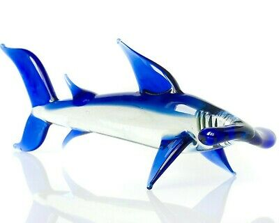 "Clear Blue Shark Figurine Blown Glass ""Murano"" Art Hummer Fish Sculpture"