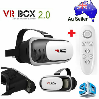 VR Box 2.0 Virtual Reality New 3D Glasses Headset Goggles Bluetooth With Remote