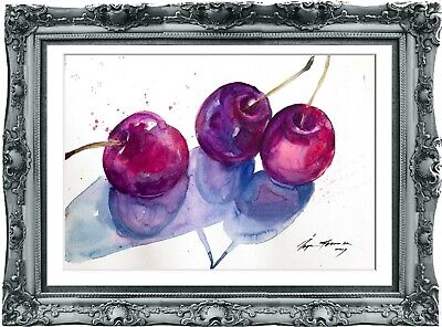 original painting  cherries watercolor 78HI signed A4