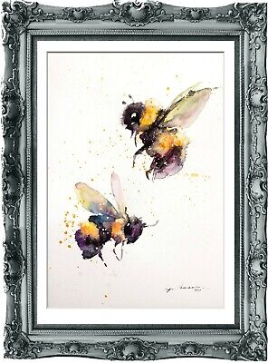 original painting bee watercolor 79HI signed A4