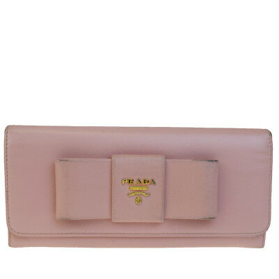 c0b511f6536aae Authentic PRADA MILANO Logos Long Bifold Wallet Purse Leather Pink Italy  01BC010