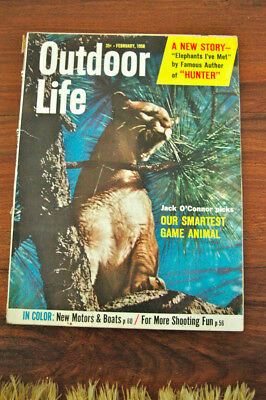 Vintage Outdoor Life Magazine February 1958/Walt Wiggins Cover/Alan Wykes