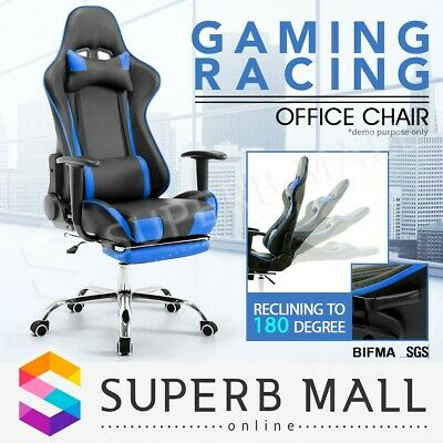 Gaming Racing Office Chair PU Leather Sport Computer Seat w/Adjustable Recliner