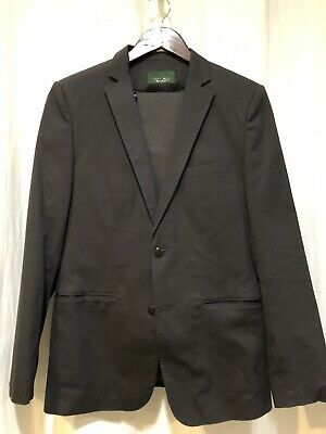 Zara Charcoal Gray Black Pinstripe Two Button Suit Blazer 38R Slim Fit 32x32