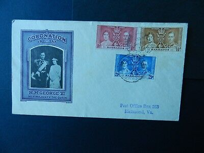 Barbados Cover  Coronation 1937  stamps set 1d, 1 1/2d,  2 1/2d