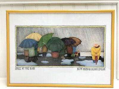 "Beth Hendrickson Logan (Seattle) ""Smile at the Rain"" VTG 1990s Lithograph Print"