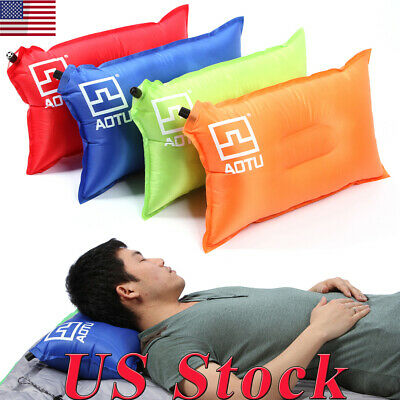 Travel Outdoor Inflatable Air Pillow Comforty Cushion Protect Head Neck Support