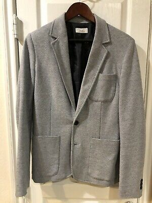 Zara Light Gray Blue Jersey Polo Texture Two Button Suit Blazer 38R Slim Fit