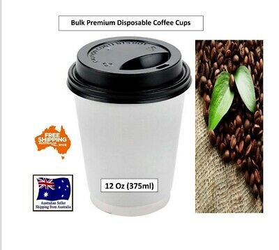 2000PC Disposable Premium Coffee Cup 12oz Cafe Takeaway Paper Cup Take Away Bulk