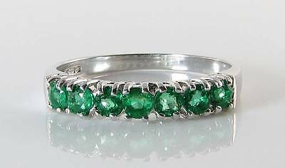 Classic 9K 9Ct White Gold Colombian Emerald Eternity Art Deco Ins Ring Free Size