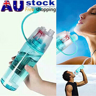 600ML Cycling Running Water Drink Bottle Mist Spray Portable Outdoor Sports Cups
