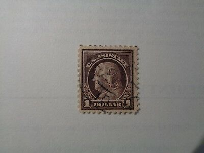 1917 Benjamin Franklin brown  $1.00 stamp perf 11 no water mark with fault