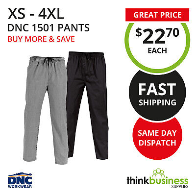 DNC Chef Pants 1501 Polyester Cotton Drawstring Unisex Black or Check