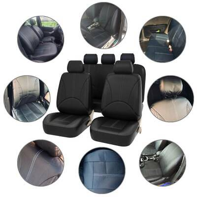 Universal Black Leather Look Car Seat Covers Heavy Duty Front Back Seats Set PU