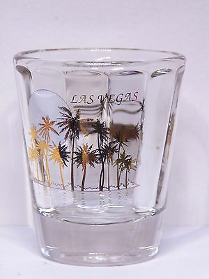 Las Vegas Nevada With Gold Palm Trees And Sun Ribbed Shot Glass