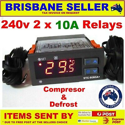 FRIDGE THERMOSTAT CONTROLLER + DEFROST 240v 2 x 10A RELAYS  1 PROBE UNIVERSAL